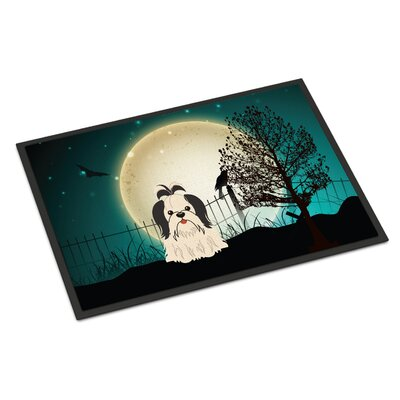 Halloween Scary Shih Tzu Doormat Mat Size: Rectangle 2 x 3, Color: Black/White