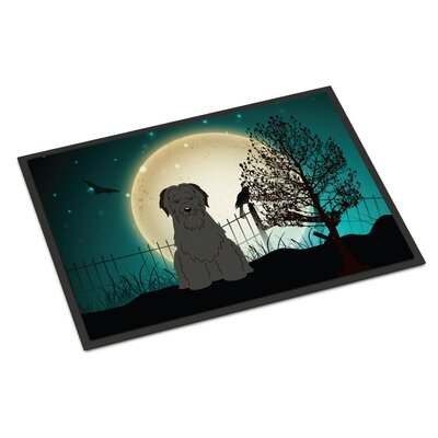 Halloween Scary Briard Doormat Rug Size: Rectangle 16 x 23, Color: Black