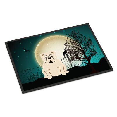 Halloween Scary English Bulldog Doormat Rug Size: 2 x 3, Color: White