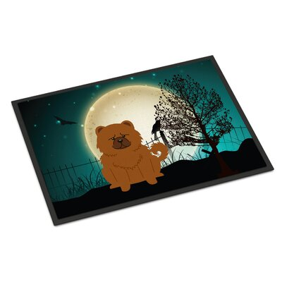 Halloween Scary Chow Chow Doormat Mat Size: Rectangle 2 x 3, Color: Red