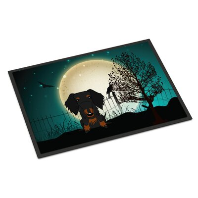 Halloween Scary Wire Haired Dachshund Doormat Rug Size: Rectangle 16 x 23, Color: Black / Tan