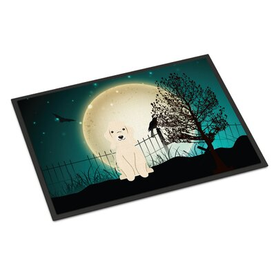 Halloween Scary Bedlington Terrier Doormat Mat Size: Rectangle 16 x 23, Color: Sandy