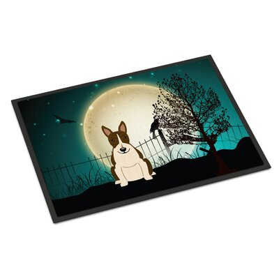 Halloween Scary Bull Terrier Doormat Rug Size: Rectangle 16 x 23, Color: White