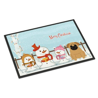 Merry Christmas Carolers Pug Doormat Mat Size: Rectangle 2 x 3, Color: Fawn