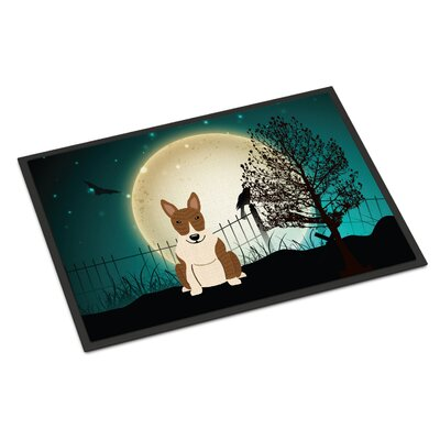 Halloween Scary Bull Terrier Doormat Rug Size: 16 x 23