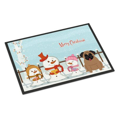 Merry Christmas Carolers Pug Doormat Color: Brown, Rug Size: 16 x 23