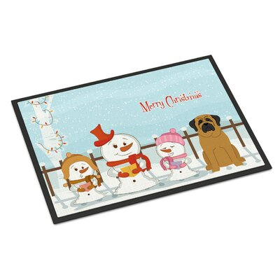 Merry Christmas Carolers Mastiff Doormat Color: Brown, Rug Size: 2 x 3