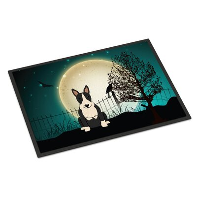 Halloween Scary Bull Terrier Doormat Mat Size: Rectangle 2 x 3, Color: Black / White