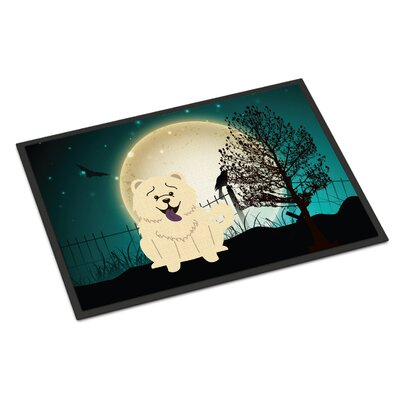 Halloween Scary Chow Chow Doormat Rug Size: 2 x 3, Color: White