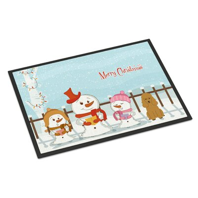 Merry Christmas Carolers Poodle Doormat Mat Size: Rectangle 2 x 3, Color: Tan
