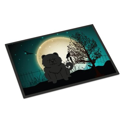 Halloween Scary Chow Chow Doormat Rug Size: Rectangle 2 x 3, Color: Black