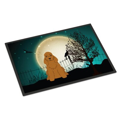 Halloween Scary Cocker Spaniel Doormat Rug Size: 2 x 3, Color: Red