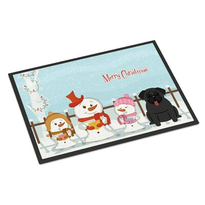 Merry Christmas Carolers Pug Doormat Mat Size: Rectangle 16 x 23, Color: Black