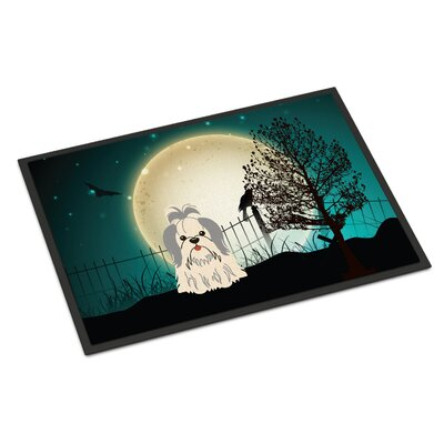 Halloween Scary Shih Tzu Doormat Mat Size: Rectangle 16 x 23, Color: Silver/White