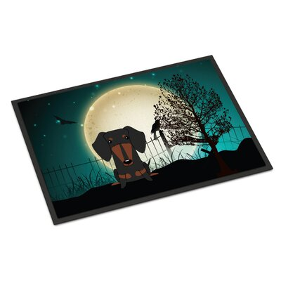 Halloween Scary Dachshund Doormat Rug Size: Rectangle 2 x 3, Color: Black / Tan