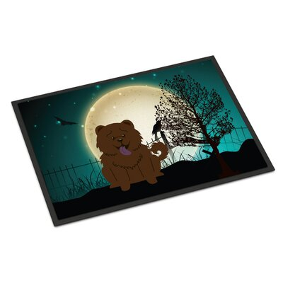 Halloween Scary Chow Chow Doormat Rug Size: 2 x 3, Color: Chocolate