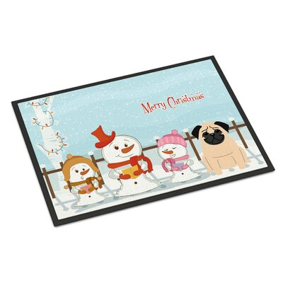 Merry Christmas Carolers Pug Doormat Rug Size: 2 x 3, Color: Brown