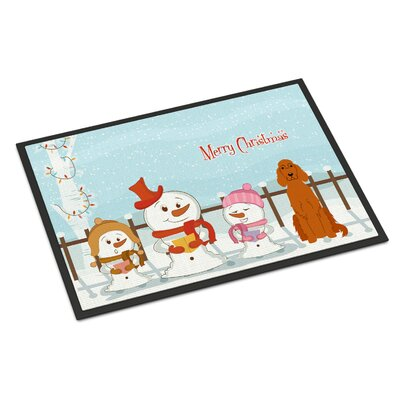 Merry Christmas Carolers Irish Setter Doormat Mat Size: Rectangle 16 x 23