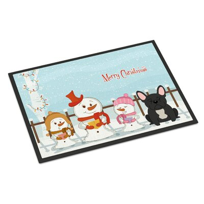 Merry Christmas Carolers French Bulldog Doormat Mat Size: Rectangle 16 x 23
