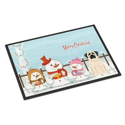 Merry Christmas Carolers Mastiff Doormat Rug Size: 16 x 23, Color: White
