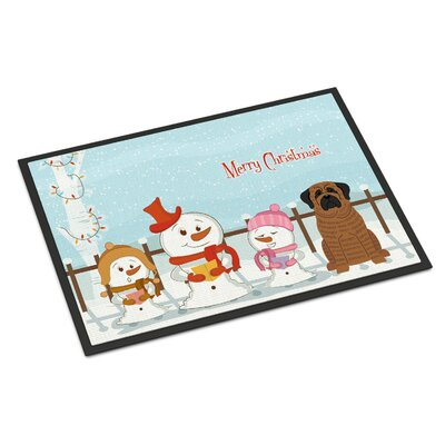 Merry Christmas Carolers Mastiff Doormat Rug Size: Rectangle 16 x 23, Color: Brindle