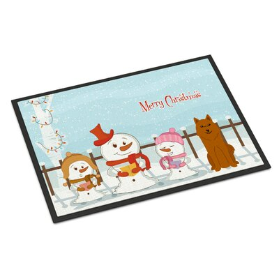 Merry Christmas Carolers Karelian Bear Dog Doormat Mat Size: Rectangle 16 x 23