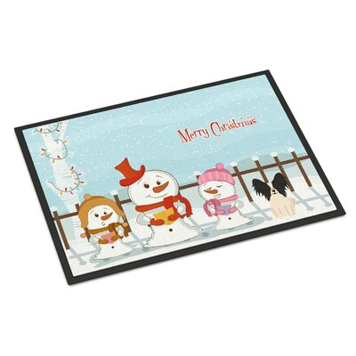 Merry Christmas Carolers Papillon Doormat Rug Size: Rectangle 2 x 3, Color: Black/White