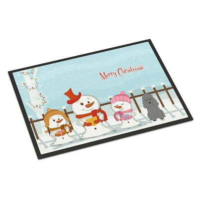Merry Christmas Carolers Poodle Doormat Mat Size: Rectangle 16 x 23, Color: Silver