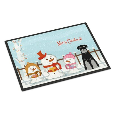 Merry Christmas Carolers Standard Schnauzer Doormat Mat Size: Rectangle 2 x 3, Color: Black/Gray