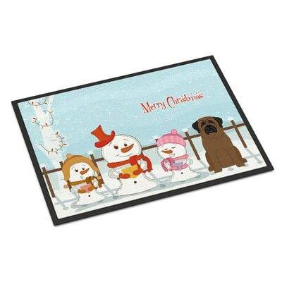 Merry Christmas Carolers Bullmastiff Doormat Mat Size: Rectangle 16 x 23