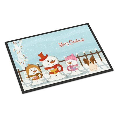 Merry Christmas Carolers Papillon Doormat Rug Size: 16 x 23, Color: Red/White