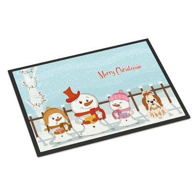 Merry Christmas Carolers Shih Tzu Doormat Rug Size: Rectangle 2 x 3, Color: Red/White