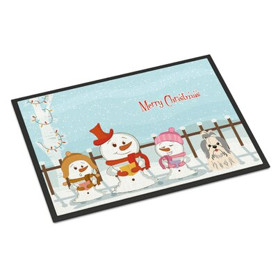 Merry Christmas Carolers Shih Tzu Doormat Rug Size: 16 x 23, Color: Silver/White