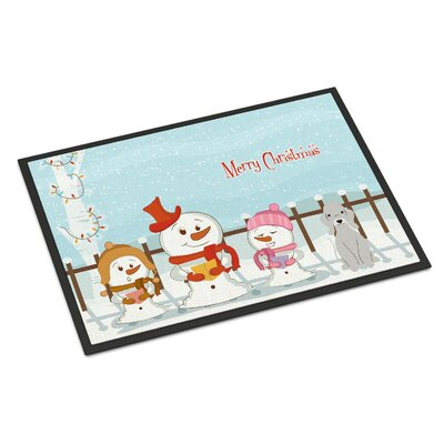 Merry Christmas Carolers Bedlington Terrier Doormat Rug Size: Rectangle 16 x 23, Color: Blue