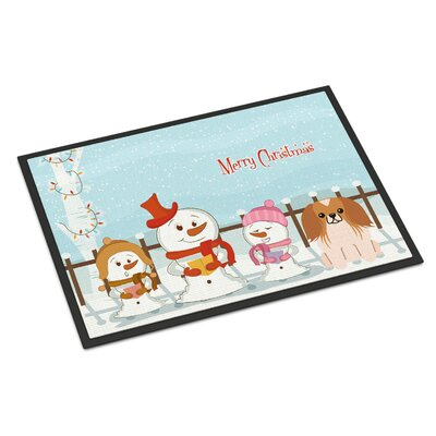 Merry Christmas Carolers Pekingnese Doormat Mat Size: Rectangle 1'6