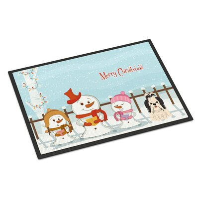 Merry Christmas Carolers Shih Tzu Doormat Rug Size: 16 x 23, Color: Black/White