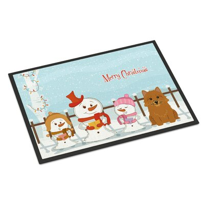 Merry Christmas Carolers Norwich Terrier Doormat Mat Size: Rectangle 16 x 23