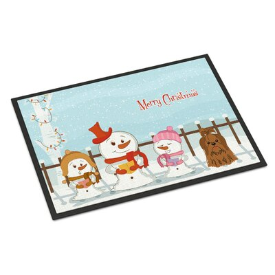 Merry Christmas Carolers Shih Tzu Doormat Color: Chocolate, Rug Size: 2 x 3