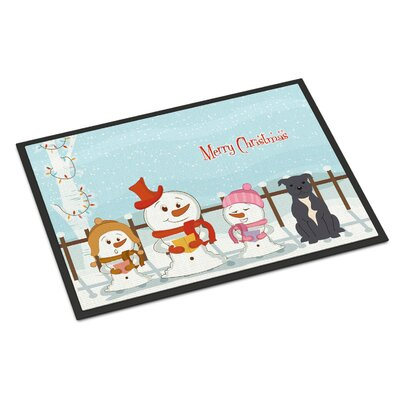 Merry Christmas Carolers Stafford Shire Bull Terrier Doormat Rug Size: Rectangle 16 x 23, Color: Blue