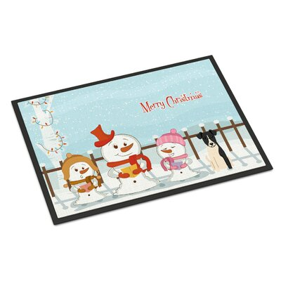 Merry Christmas Carolers Smooth Fox Terrier Doormat Mat Size: Rectangle 16 x 23