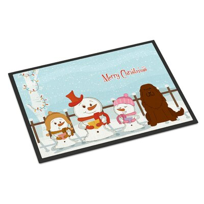 Merry Christmas Carolers Caucasian Shepherd Dog Doormat Mat Size: Rectangle 16 x 23