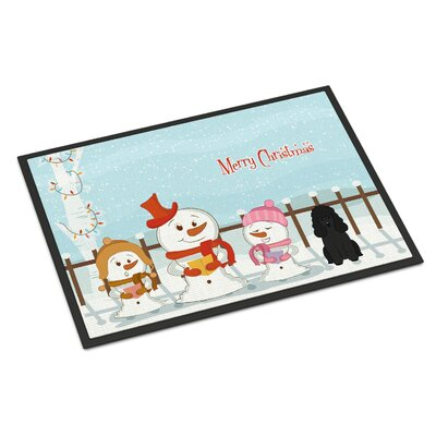 Merry Christmas Carolers Poodle Doormat Mat Size: Rectangle 2 x 3, Color: Black