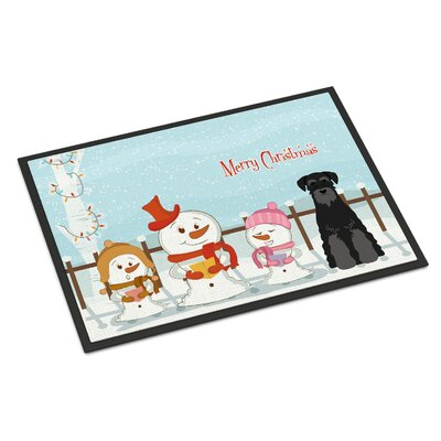 Merry Christmas Carolers Standard Schnauzer Doormat Mat Size: Rectangle 16 x 23, Color: Salt/Papper