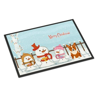 Merry Christmas Carolers Corgi Doormat Mat Size: Rectangle 16 x 23
