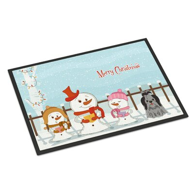 Merry Christmas Carolers Shih Tzu Doormat Rug Size: Rectangle 16 x 23, Color: Black/Silver