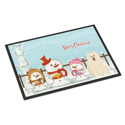 Merry Christmas Carolers Samoyed Doormat Rug Size: Rectangle 16 x 23