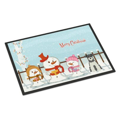 Merry Christmas Carolers Miniature Schnauzer Doormat Color: Black/Silver, Rug Size: 2 x 3