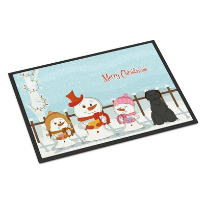 Merry Christmas Carolers Briard Doormat Color: Black, Rug Size: 2' x 3'