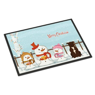 Merry Christmas Carolers Stafford Shire Bull Terrier Doormat Rug Size: Rectangle 2 x 3, Color: Brown
