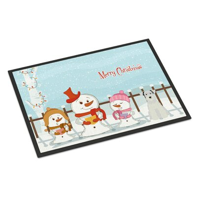 Merry Christmas Carolers Miniature Schnauzer Doormat Mat Size: Rectangle 16 x 23, Color: White